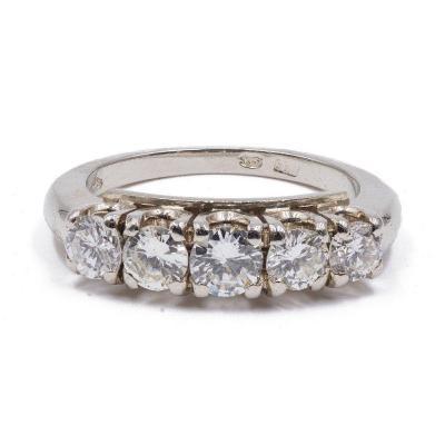 Bague Riviera Vintage En Or 14k Avec 5 Diamants TaillÉs En Brillant (1.2 Ct), AnnÉes 60
