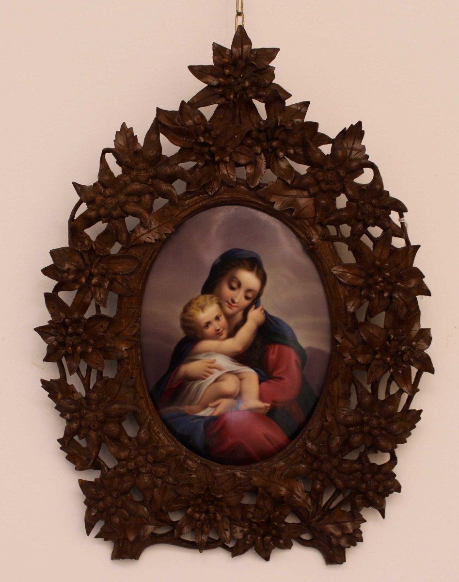 Vierge à l'Enfant Sur Porcelaine