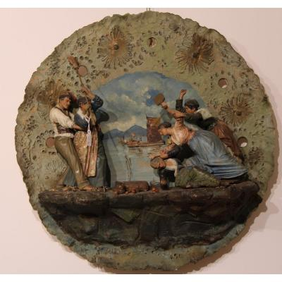 Plate In Polychrome Terracotta Scene From Naples From The 19th Century