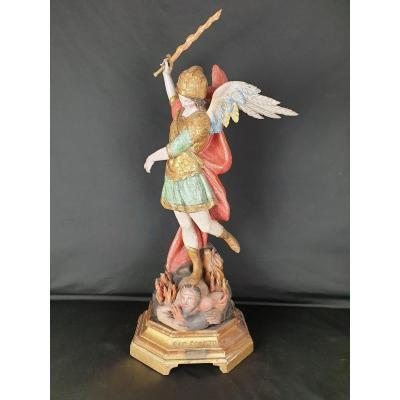 Eighteenth Century Wooden Sculpture Of Saint Michael The Archangel