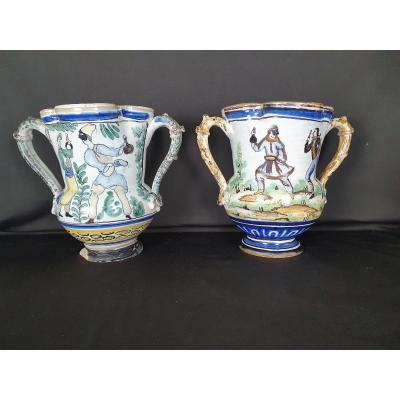 Pair Of 19th Century Neapolitan Pitchers