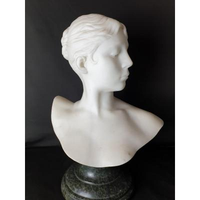 Bust Of  Diana By Jean-alexandre-joseph Falguière From The 19th Century.
