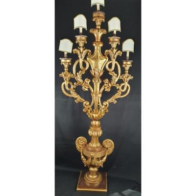 Candlestick With 5 Light Points, 18th Century Sculpture