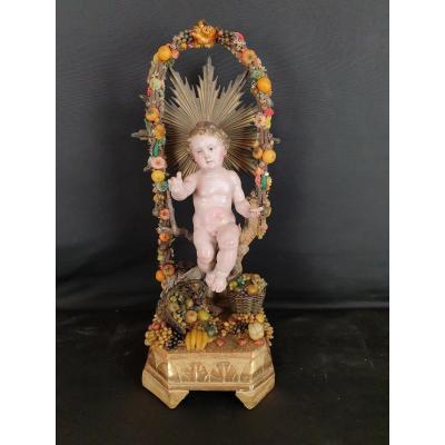 Enfant Jésus, Sculpture Napolitaine Du XIXe Siècle
