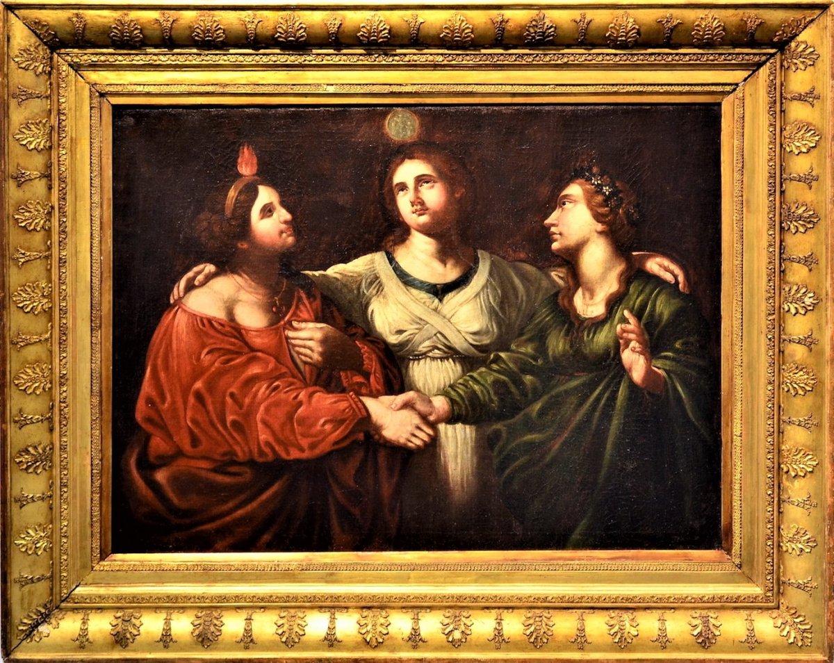 Les trois Vertus - école Tuscan début XVIIème Siècle