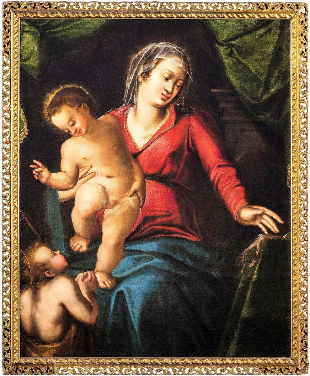 La Vierge à l'Enfant Et Le Petit Saint Jean, école Venitienne - Fin Du XVIème
