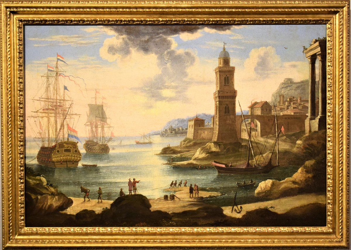 Port Scene With Boats And Galleons - Orazio Grevenbroeck 1720 In.