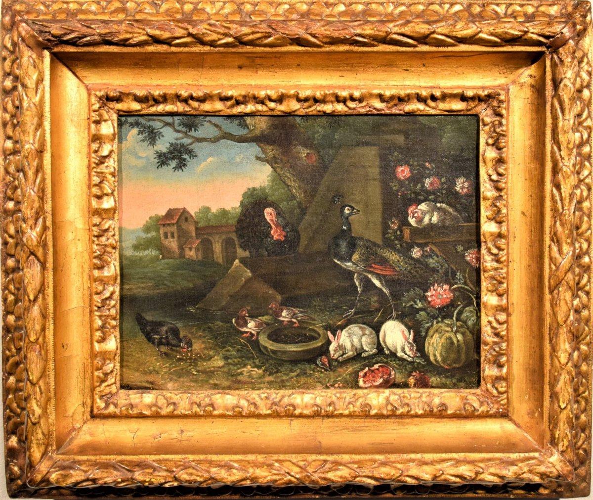 """""""Cour avec animaux  et fleurs""""  ècole Flamand du XVIIème"""