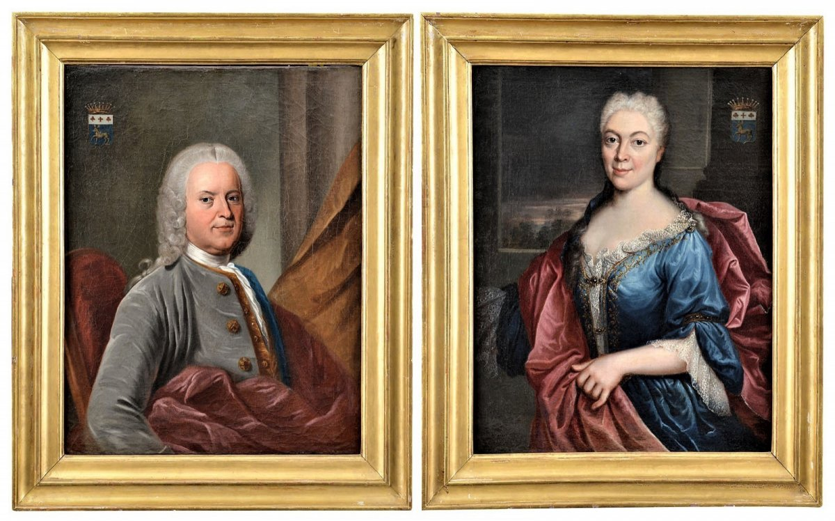Paire De Portraits, Atelier De Nicolas De Largillière Vers 1730-photo-3