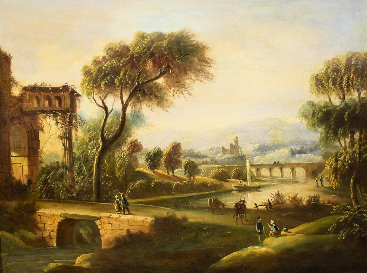 River Landscape With Bridge And Roman School Ruins Late Eighteenth-photo-2