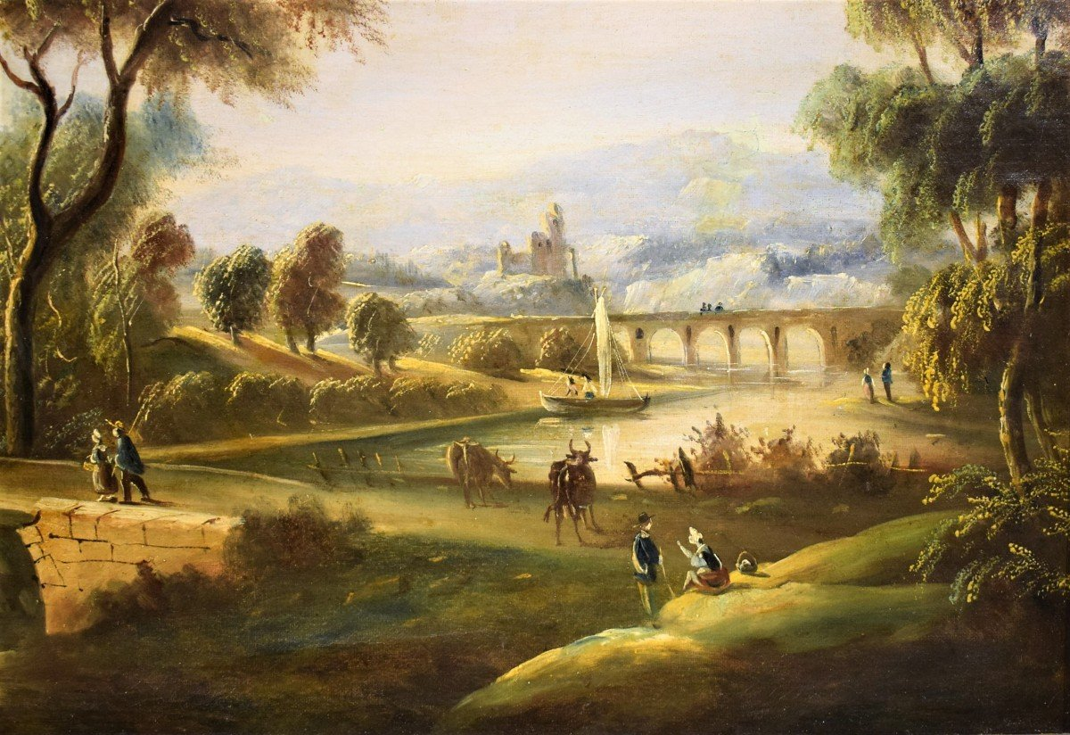 River Landscape With Bridge And Roman School Ruins Late Eighteenth-photo-1