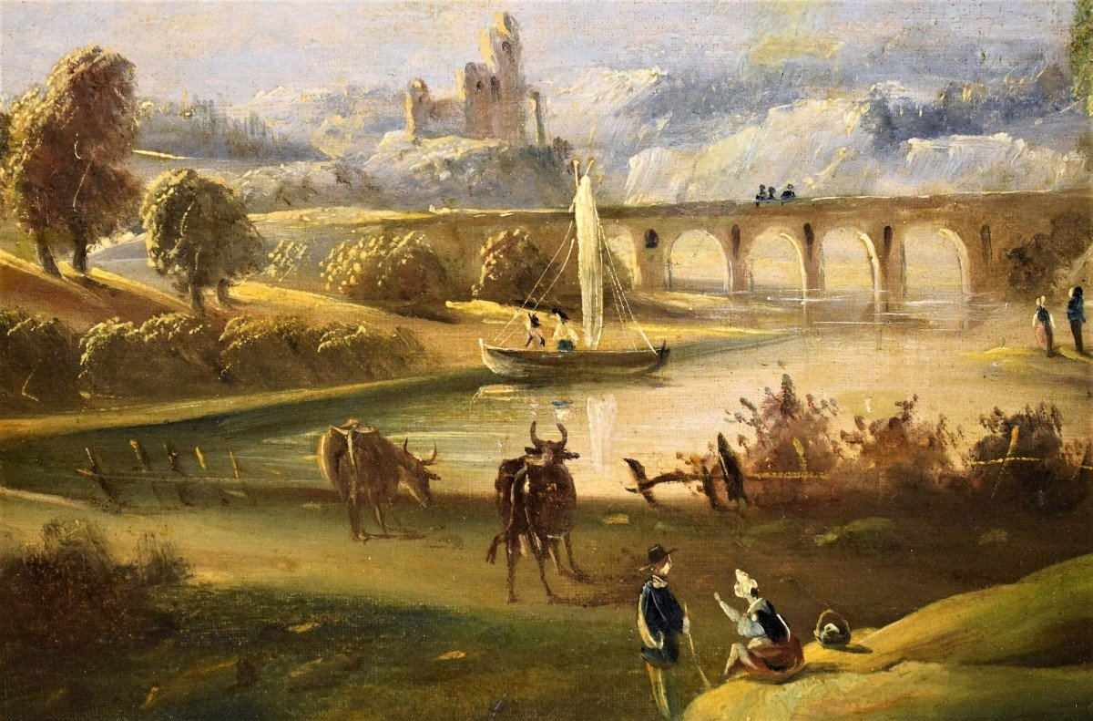 River Landscape With Bridge And Roman School Ruins Late Eighteenth-photo-4