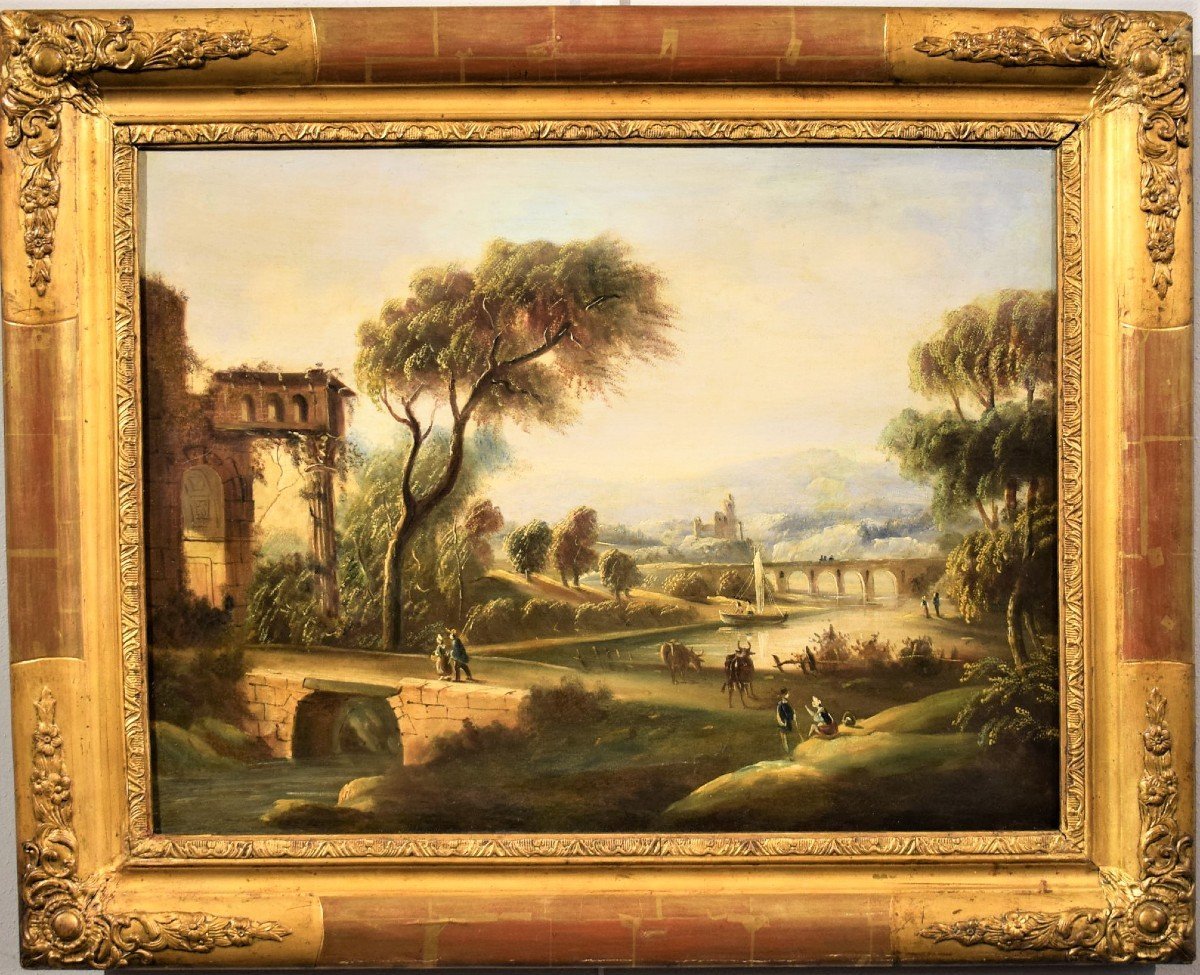 River Landscape With Bridge And Roman School Ruins Late Eighteenth