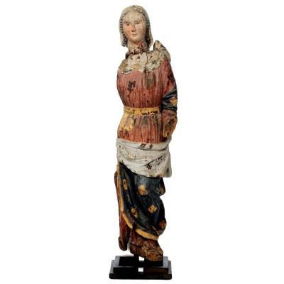 Madonna En Bois Sculpté Polychrome, Italie Vers 1300