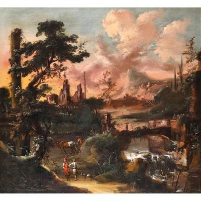 Paysage Fantastique Au Choucher Du Soleil Antonio Stom (Venise1688-1734)