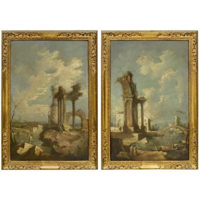 """Paire de """"Caprices Vénitiens"""" atelier de Francesco Guardi  fin  du XVIIème"""