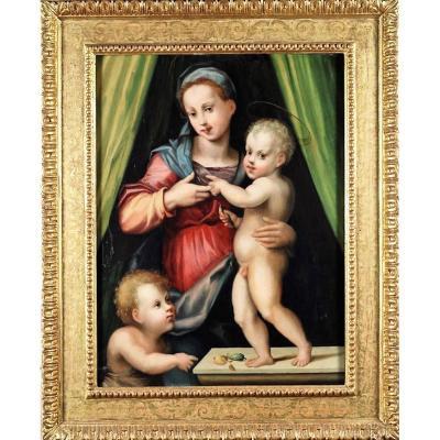 Vierge à l'Enfant Et Saint Jean , Domenico Puligo (florence 1492 - 1527)
