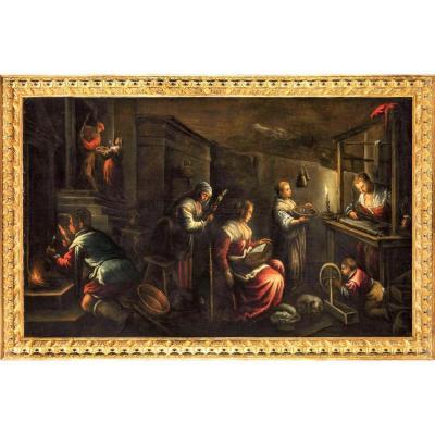 Scène d'Intérieur Aux Chandelles - école Venitienne Du XVIIème