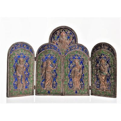 Triptych In Embossed Copper And Polychrome Enamels France XVIIIth