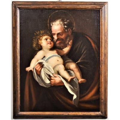 Saint Joseph Et l'Enfant - Francesco Nuvolone - école Lombarde De XVIIème