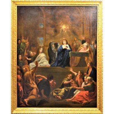 """""""La Descente de l'Esprit Saint"""" école française du XVIIème"""