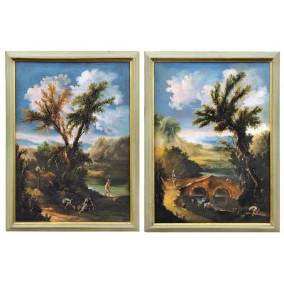 Paire De Paysages Italiens Signés Et Datés 1709