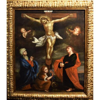 The Crucifixion Of Christ Flemish School - End Of The XVIth Century