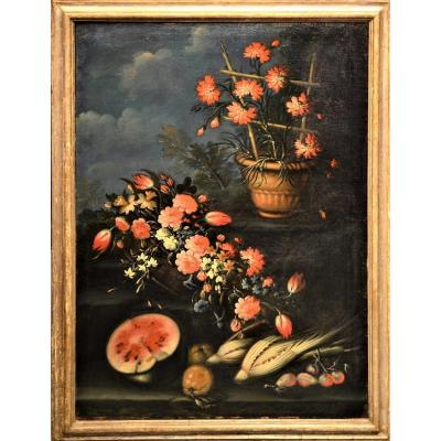 Still Life Of Flowers And Fruit - Francesco Lavagna - Beginning Of The XVIIIth