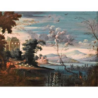 """""""Paysage fantastique"""" ècole Flamand, fin du XVIIème"""