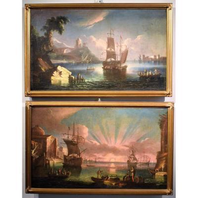 Couple De Paysages Marines - Paolo Maria Antoniani,  Fin Du XVIIIème