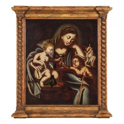 """""""Vierge à l'Enfant et le petit St. Jean Baptiste"""" école Espagnol du XVIème"""