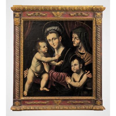 Vierge à l' Enfant, St. Jean Baptiste Et St. Anne - Renaissance Italienne