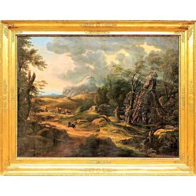 Paysage Forestier Avec Berger Et Troupeau
