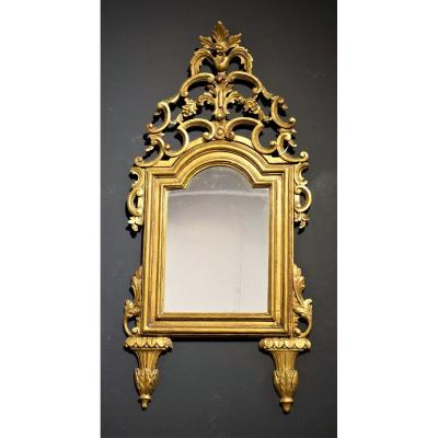 Small Luis XVI Mirror In Carved And Gilded Wood