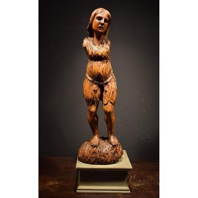 """""""La Madeleine"""" Sculpture Médiévale En Bois, Toscane début du XVème"""