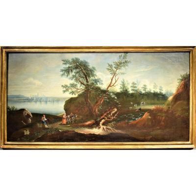 Grand Paysage De Lac Avec Bois Et Personnages,  école Vénitienne Du XVIIIème