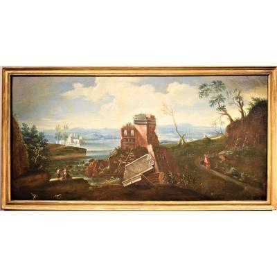 Grand Paysage De Lac Avec Ruines  école Vénitienne Du XVIIIème