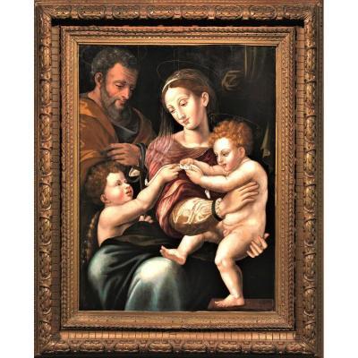 Sainte Famille et Saint Jean Baptiste, école Florentin XVIéme