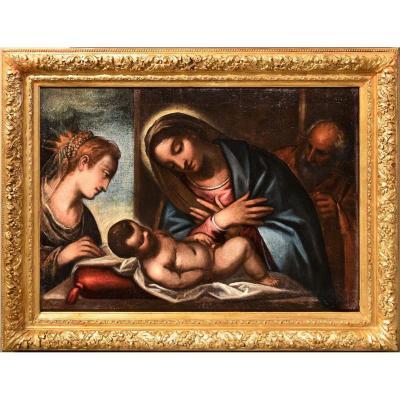 St. Famille Avec St. Catherine - Atelier De Luca Cambiaso,  Fin XVIème