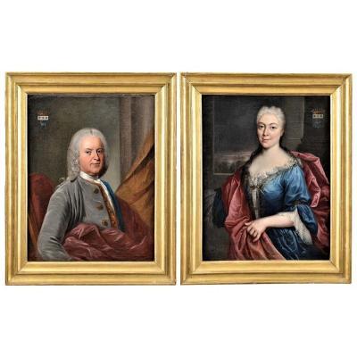 Paire De Portraits Atelier Nicolas De Largillière Vers 1730
