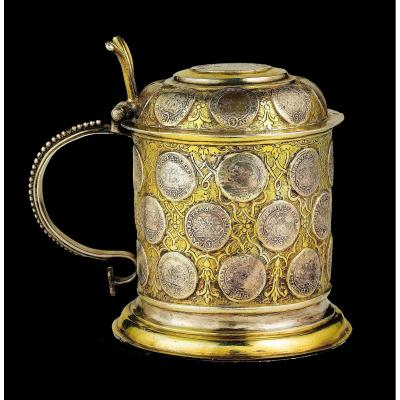 Tankard In Golden Silver, Decorated With 28 Ancient Thalers Of Saxony Silver.