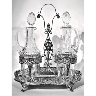 Oil Cruet Vinegar Silver 925 °°° Crystal Bottles