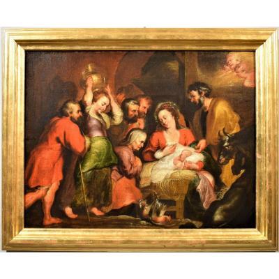 Nativitè Et Adoration Des Bergers, école Flamand Du XVIIème