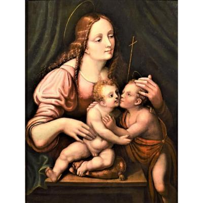 Vierge à l'Enfant Et Saint Jean Baptiste, école Lombarde Du XVIème