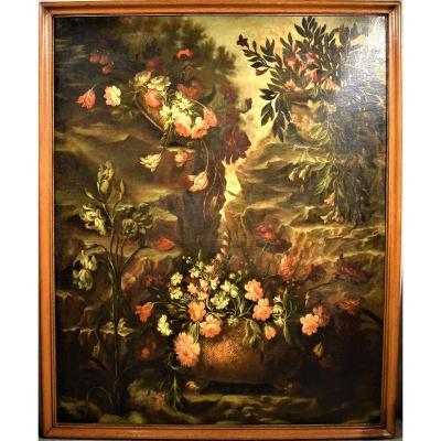 Nature Morte De Fleurs, école Italienne Début XVIIIème 150 X 180