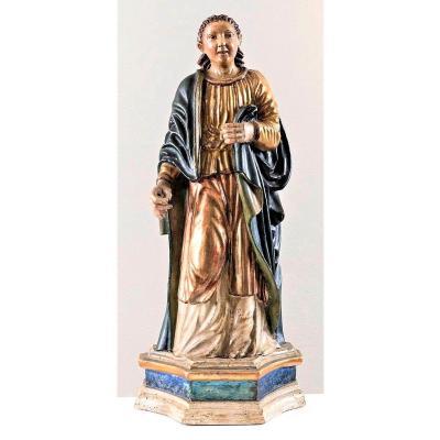 Sainte Martyr Sculpture En Bois Polychrome  Du XVIIème