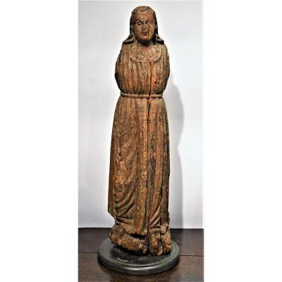 Sculpture Médiévale En Bois Représentant La Vierge