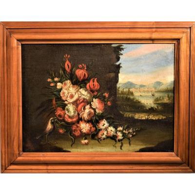Nature Morte De Fleurs Avec Paysage école Vénitienne XVIIIème