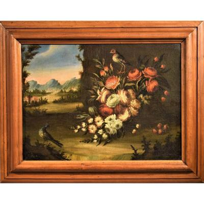 Still Life Of Flowers With Landscape 18th Century Venetian School