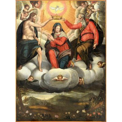 Le Couronnement De La Vierge - école Italienne Début Du XVIIème
